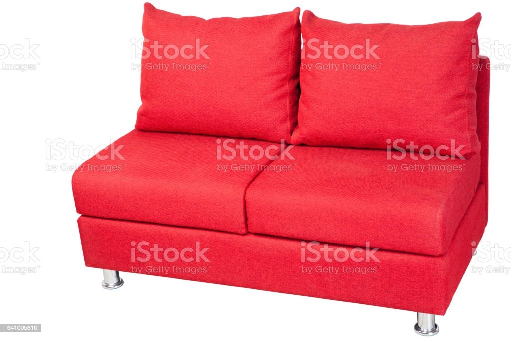 Double Sofa Upholstered In Red Fabric Isolated On White ...