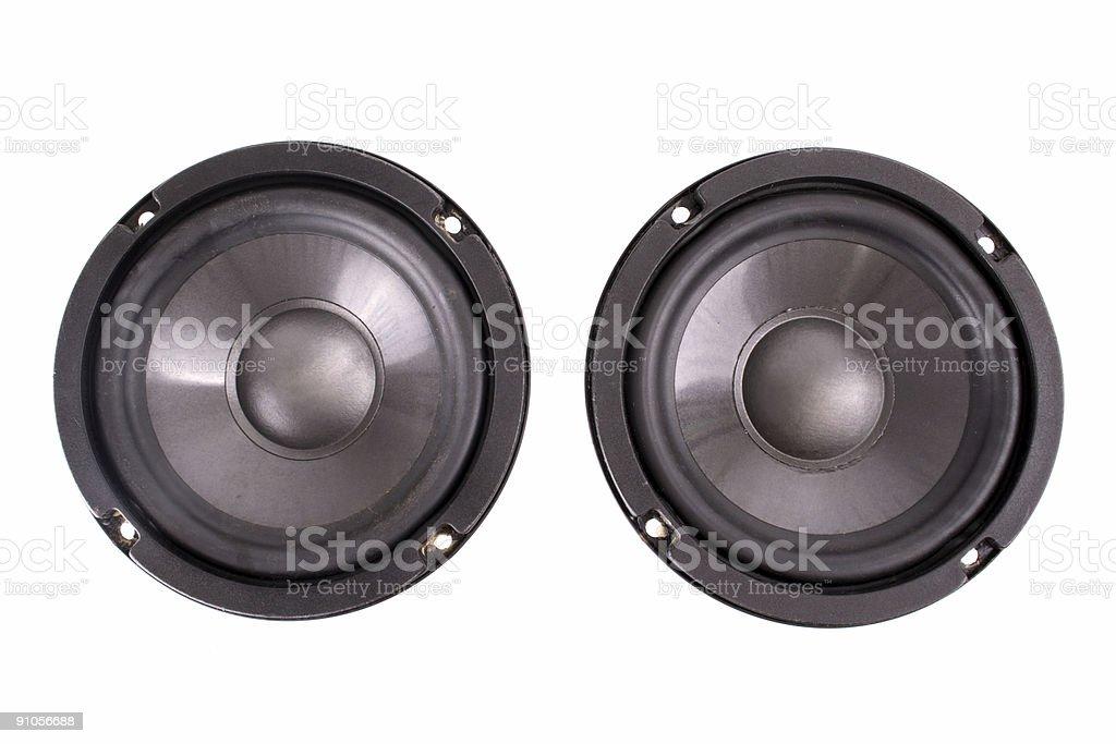 Double speakers stock photo