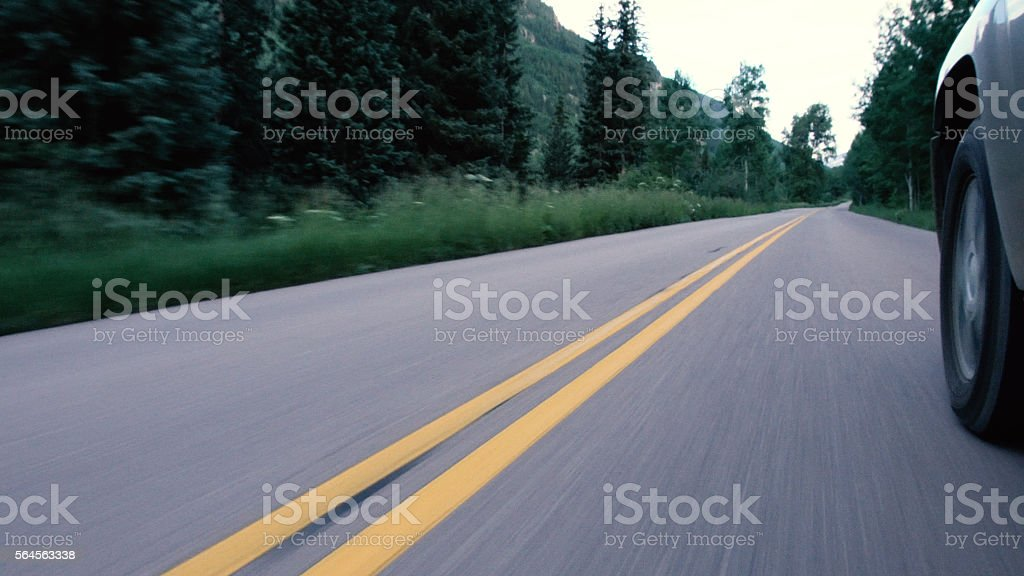 Double Striped Line On A Mountain Highway stock photo