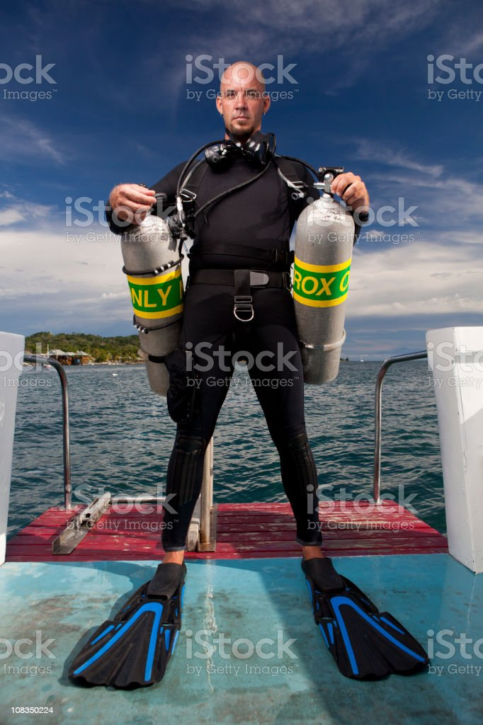 Double tank tec diver stock photo