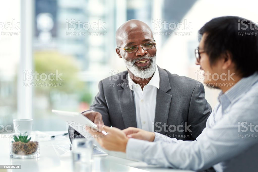 Double the exec power on their project stock photo