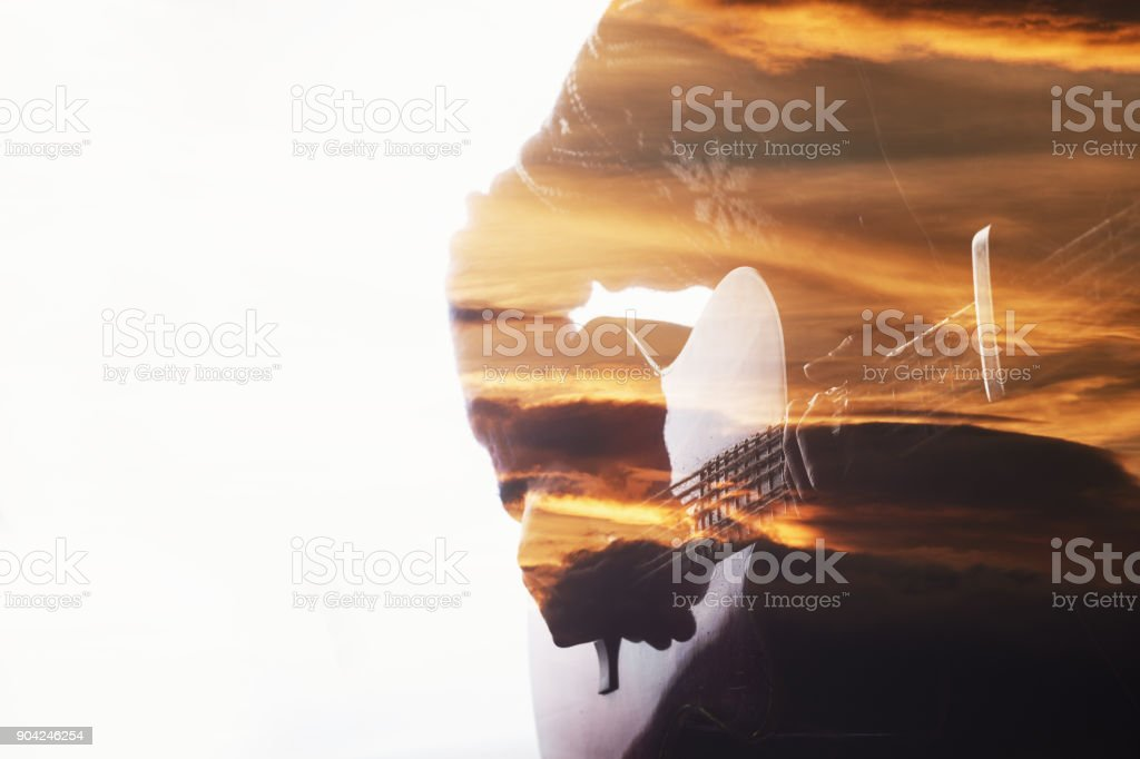 Double the exposure playing guitar stock photo