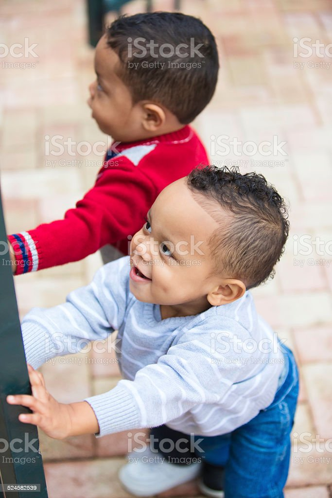 Double trouble. Twin boys try to open a locked fate stock photo