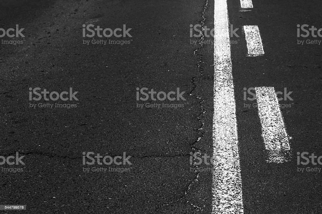 Double white line on asphalt road. stock photo