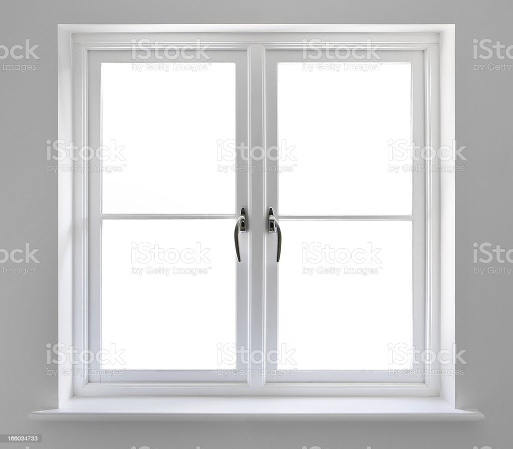 double white windows with clipping path stock photo