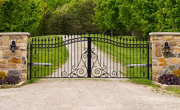 double wrought-iron gate - ingang stockfoto's en -beelden