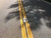 Stripes on paved road in USA