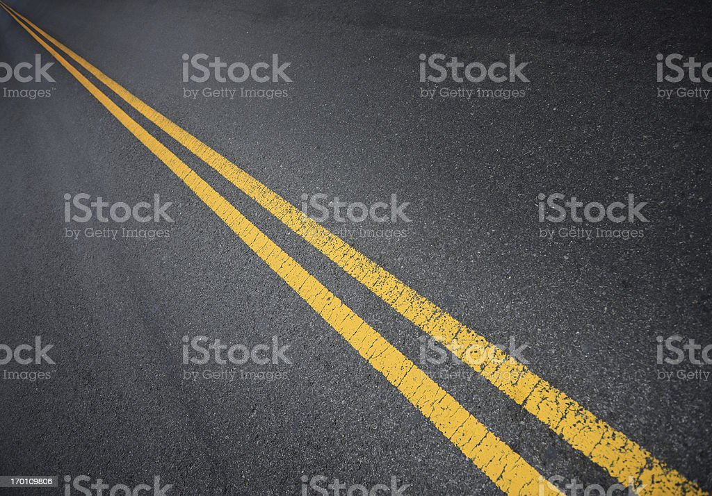 Double yellow lines into infinity stock photo