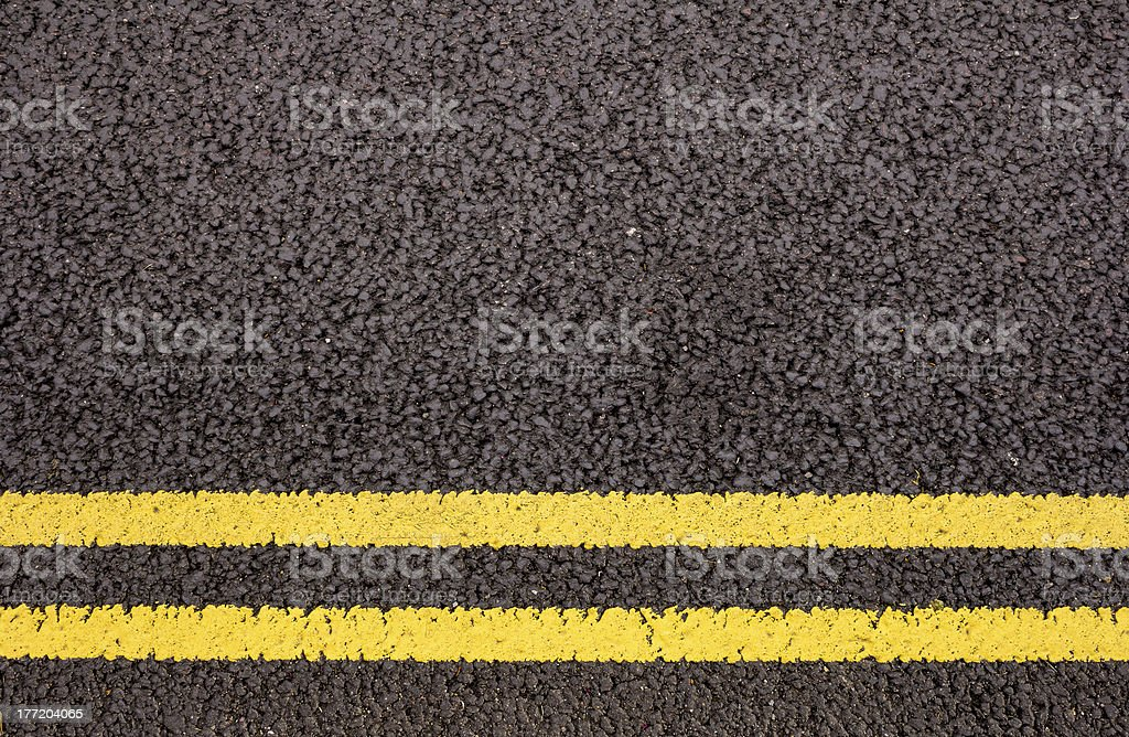 Double yellow lines stock photo