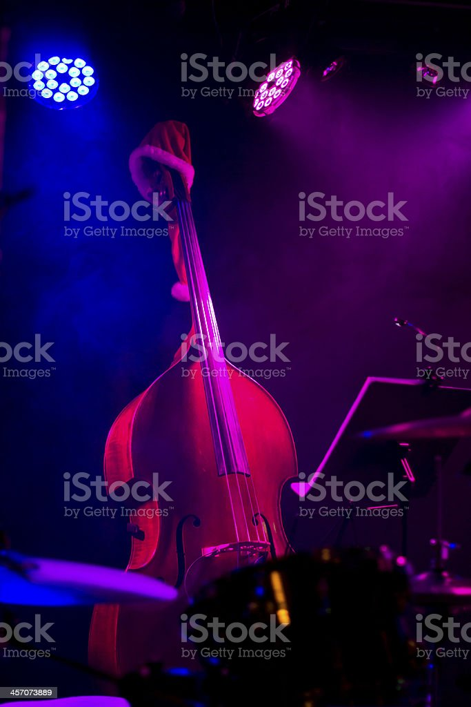 Doublebass on bandstand stock photo