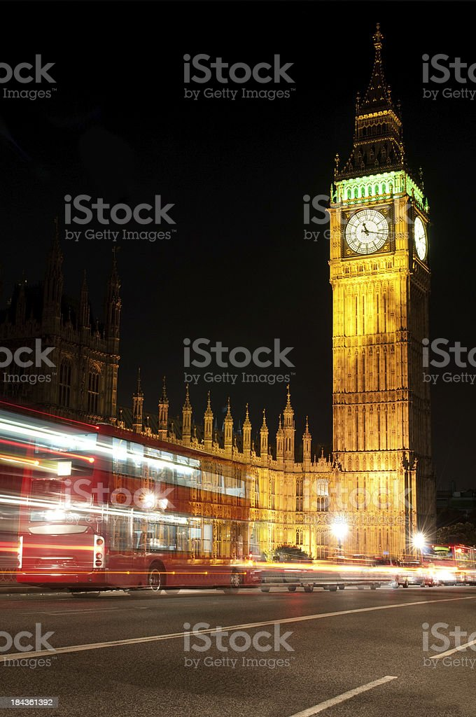 Double-decker and Big Ben royalty-free stock photo