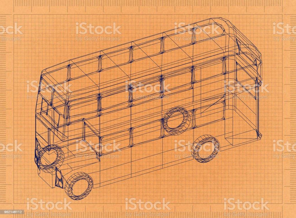 Double-decker bus - Retro Blueprint stock photo