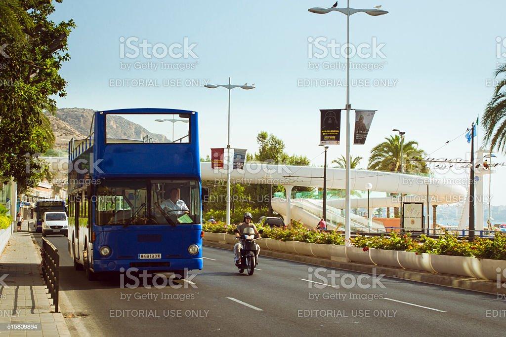 Double-Decker tourist bus, Alicante, Valencia, Spain stock photo