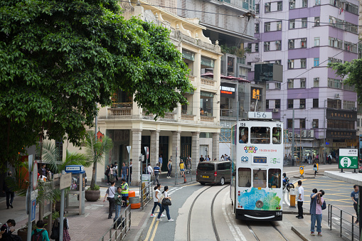Doubledecker Trams In Hong Kong Stock Photo - Download Image Now