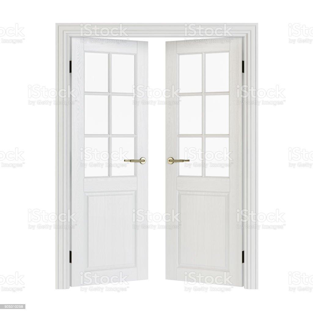 zweifl gelige t ren mit glas innent ren isoliert auf wei em hintergrund 3drendering stock. Black Bedroom Furniture Sets. Home Design Ideas