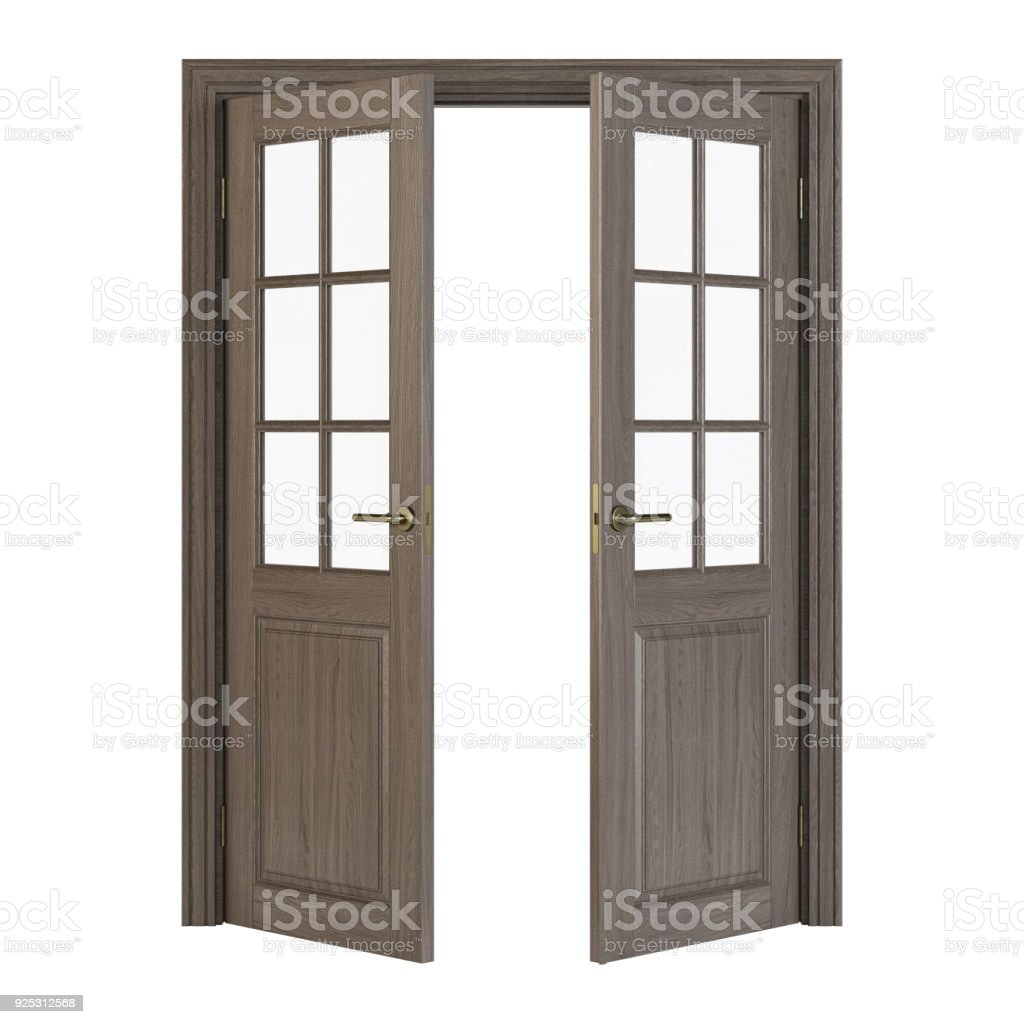 Doubleleaf Doors With Glass Interior Doors Isolated On White