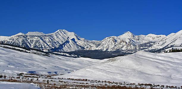 Doubletop Mountain Peak in the Gros Ventre Range stock photo