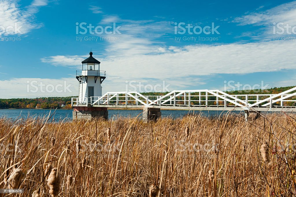 Doubling Point Lighthouse in autumn, Arrowsic, Maine. stock photo