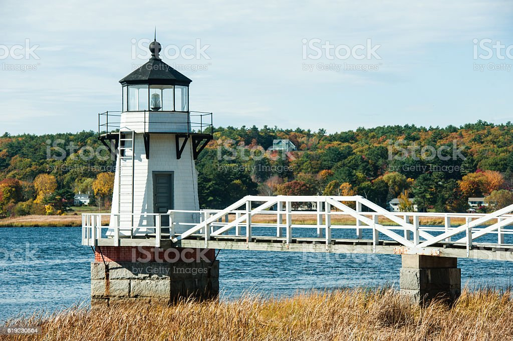 Doubling Point Lighthouse in autumn, Kennebec River, Arrowsic, Maine. stock photo
