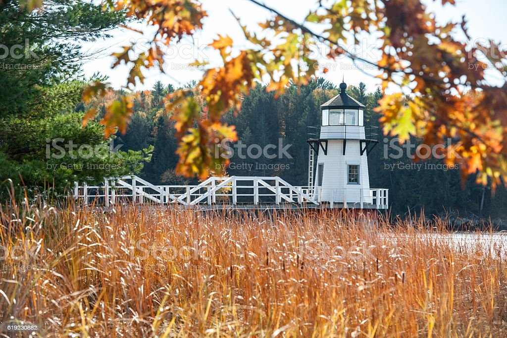 Doubling Point Lighthouse in autumn, Kennebec River, Arrowsic, Maine stock photo