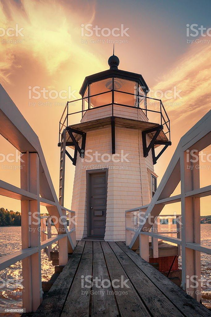 Doubling Point Lighthouse in Maine New England stock photo