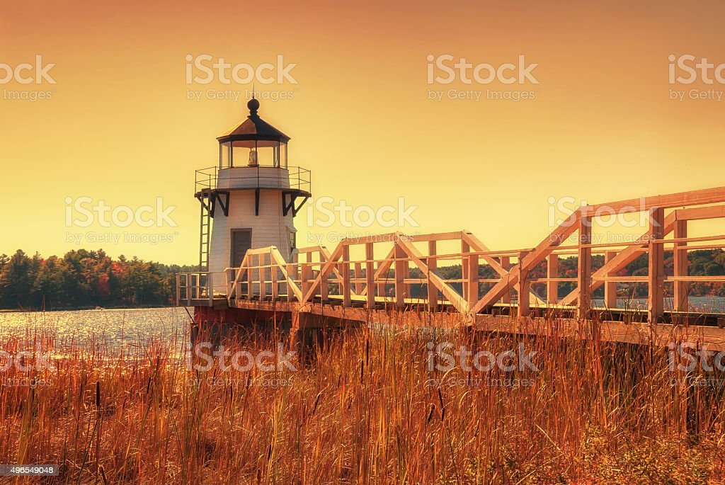 Doubling Point Lighthouse in New England stock photo