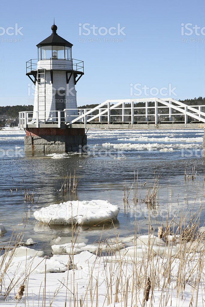 Doubling Point Lighthouse in Winter stock photo