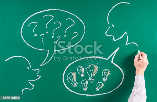 185325970 istock photo Doubt and solution concept on blackboard 836610568