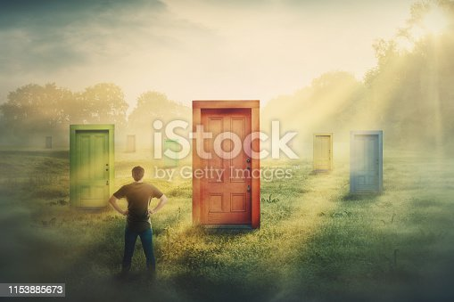 Doubtful man in front of many different doors choosing one. Difficult decision, concept of important choice in life, failure or success. Ways to unknown future career development. Opportunity symbol.