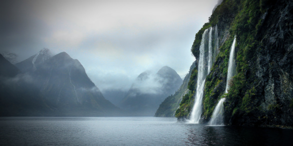 Beautiful waterfalls on a cloudy day in the Sounds