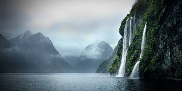 doubtful sound, fjordland in new zealand - fjord stock photos and pictures