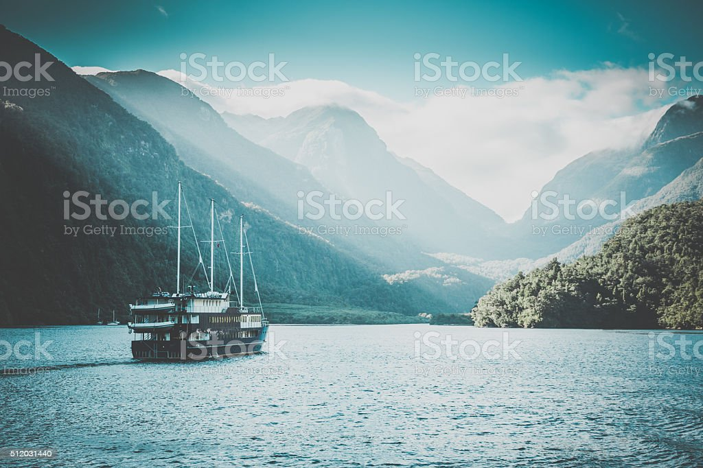 Doubtful Sound Landscape, South Island, New Zealand stock photo