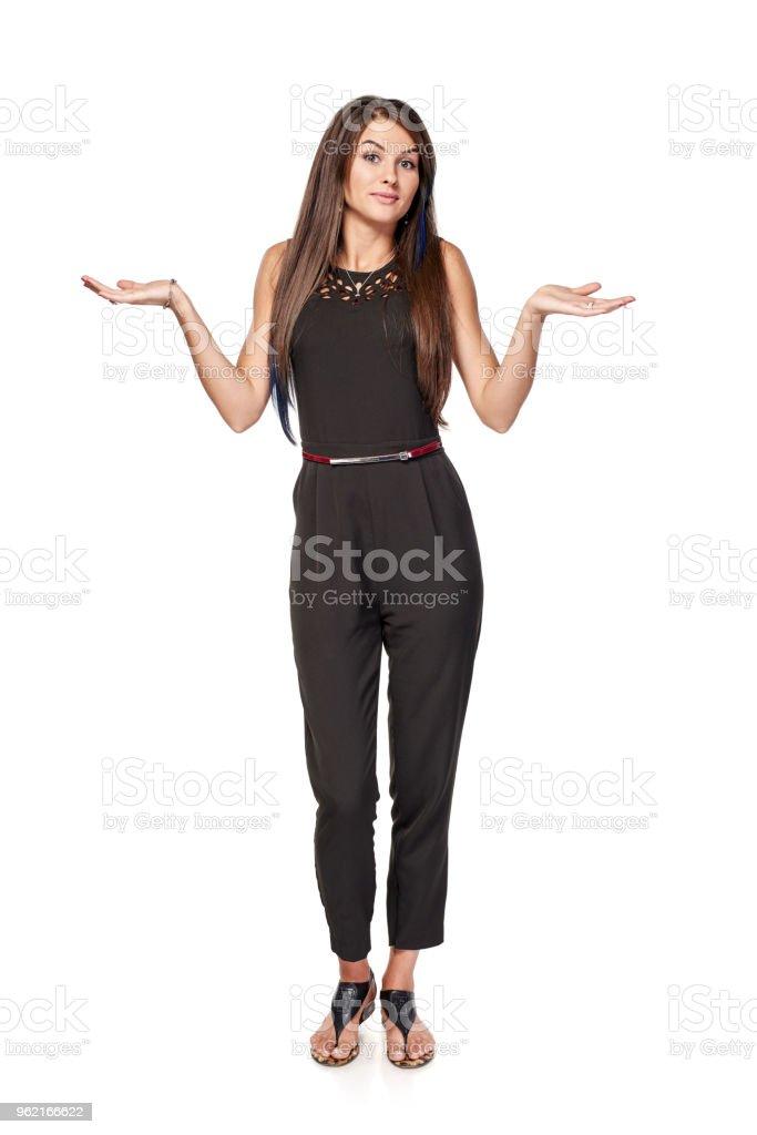 Zweifelhafte Frau zuckt die Schultern – Foto