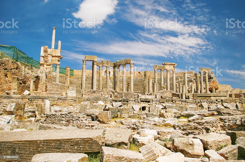 Dougga, Roman Ruins. Unesco World Heritage Site in Tunisia. stock photo