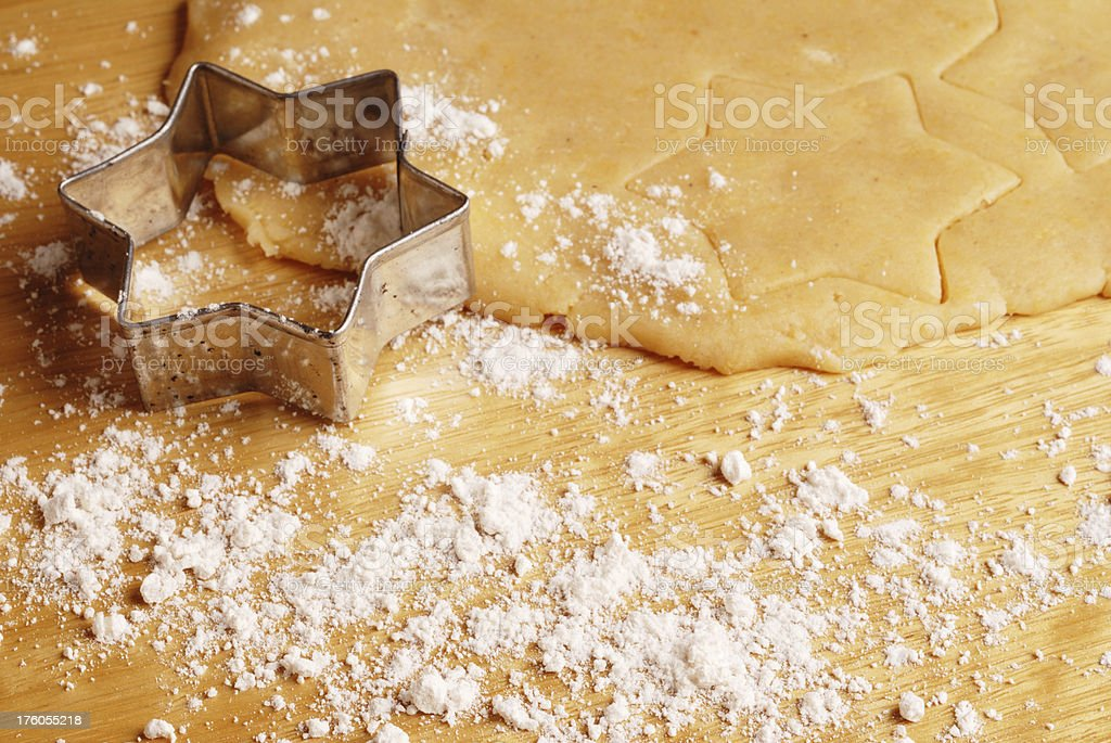 dough, cookie cutter and flour stock photo