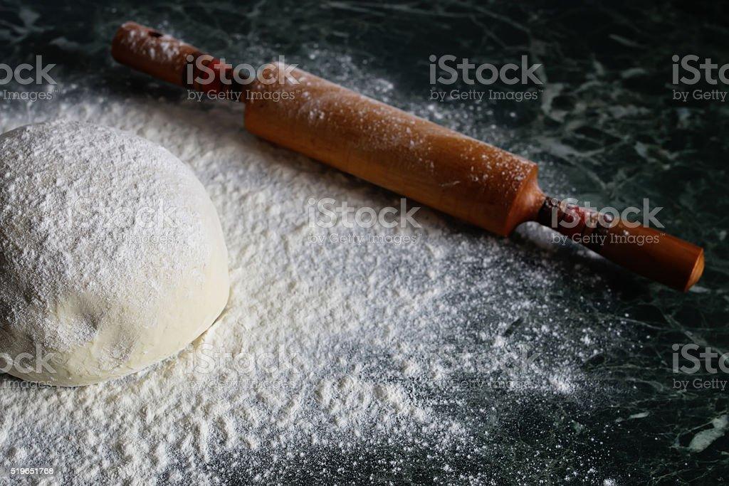 dough knead flour stock photo