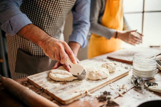 Dough kneading stock photo