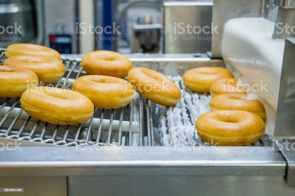 dough nuts on conveyor belt royalty-free stock photo