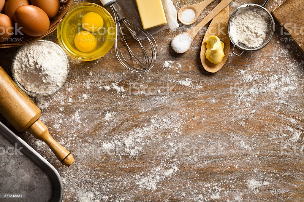 Dough preparation and baking frame stock photo