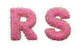 3D Render Doughnut Alphabet R and S letters On White Background