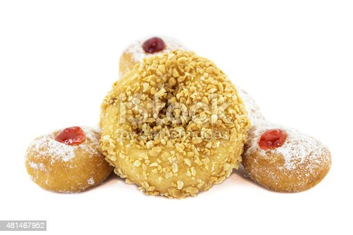 Doughnut with Stawberry, Bavarian, blueberry and Doughnut nut isolated on white background.