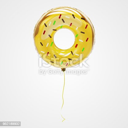 Beautiful 3d Doughnut Shaped balloon rendered in high quality, floating against a white background.