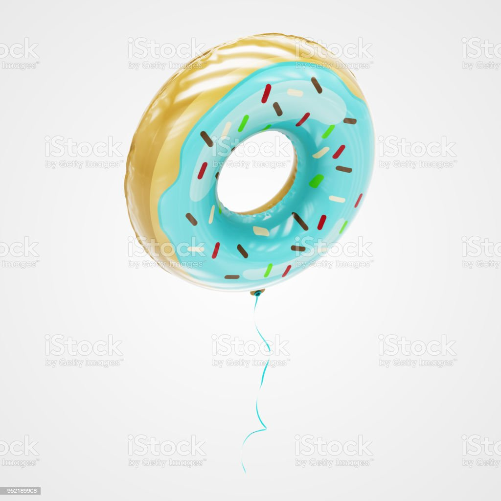 Doughnut Shaped Balloon Floating in perspective view - Stock Image stock photo