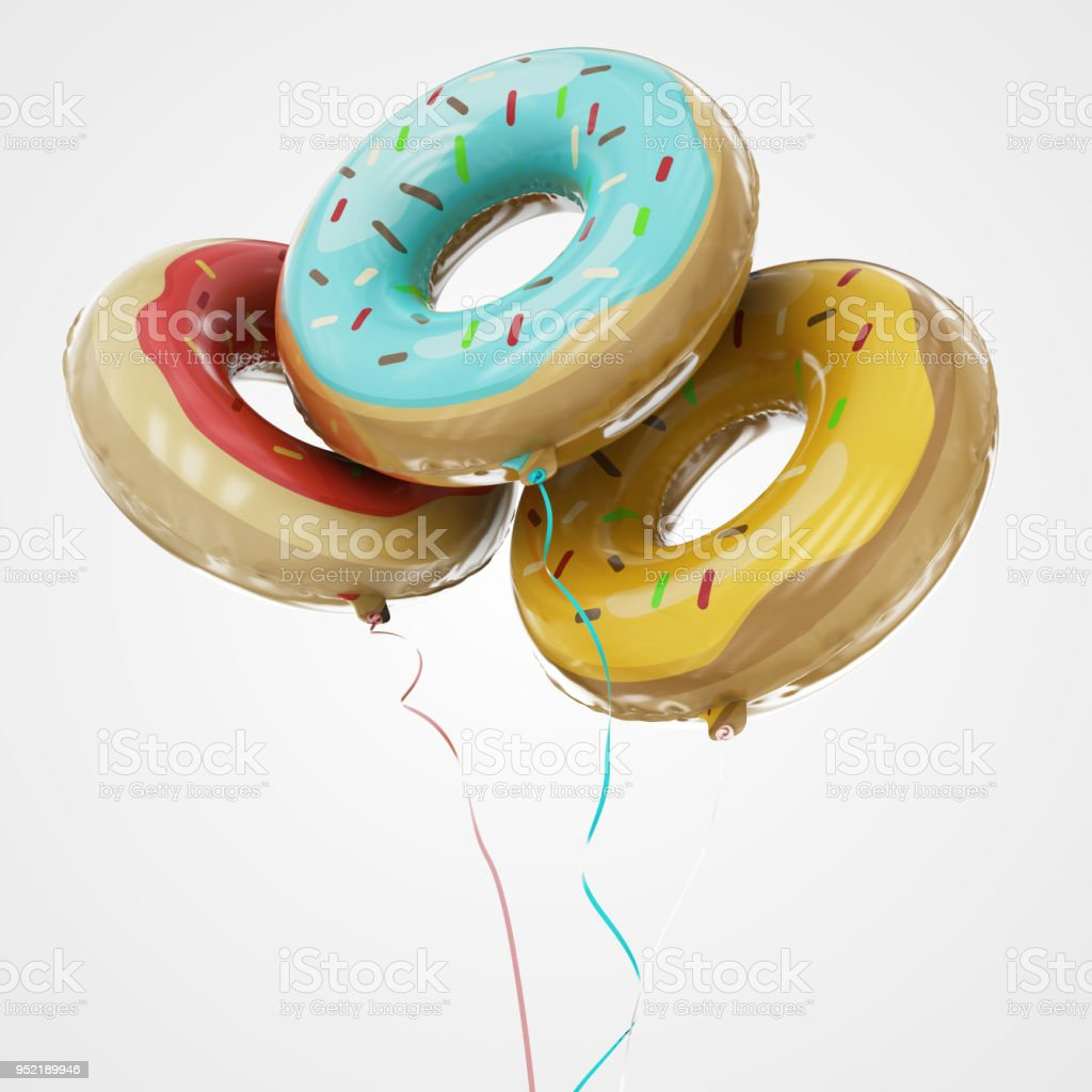 Doughnut Shaped Balloons Floating in bottom view - Stock Image stock photo