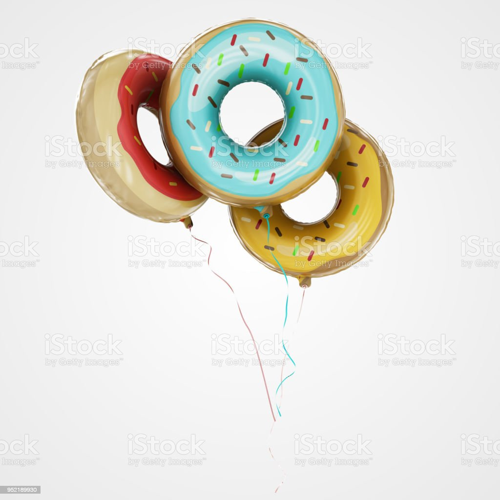 Doughnut Shaped Balloons Floating in front view - Stock Image stock photo