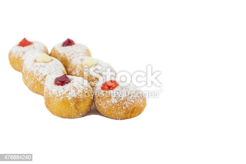 Doughnut with Stawberry, Bavarian and blueberry isolated on white background.
