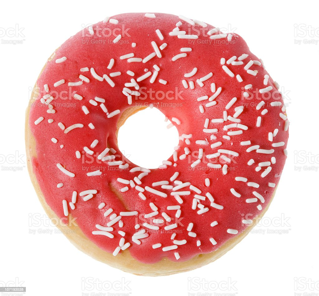 Doughnut with pink icing on white background stock photo