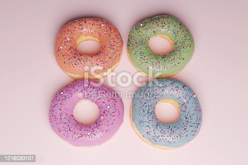 istock Doughnuts with pastel colors 1216030101