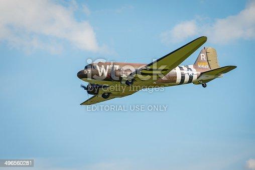 Duxford, UK - 25th May 2014: Douglas Dakota at Duxford Airshow.