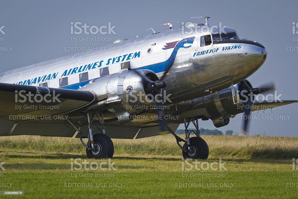 Douglas DC-3 taking off royalty-free stock photo